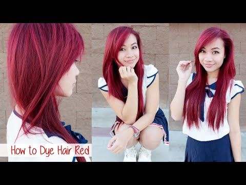 How to Dye Hair Red without Using Bleach l Loreal HiColors Hi-Lift Red Magenta Hair Color - YouTube
