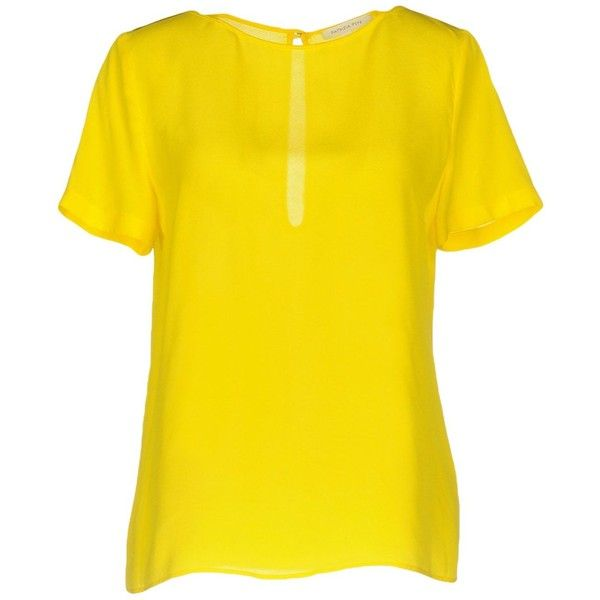 Patrizia Pepe Blouse ($105) ❤ liked on Polyvore featuring tops, blouses, yellow, short sleeve tops, short sleeve blouse, patrizia pepe, short-sleeve blouse and yellow top