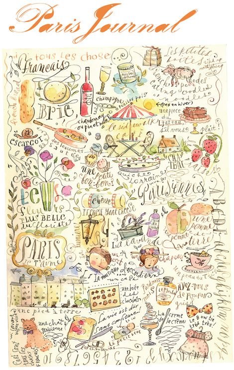 paris journal - Fun!  Charming! Wow! What a fun way to doodle while waiting to board your plane!  Or while sitting at a bistro....