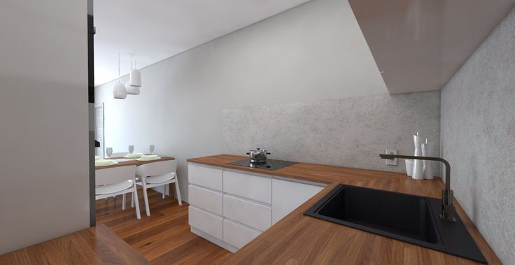 Vizualizácia kuchyne v modernom bielom prevedení v kombinácii s dubovou pracovnou doskou.
