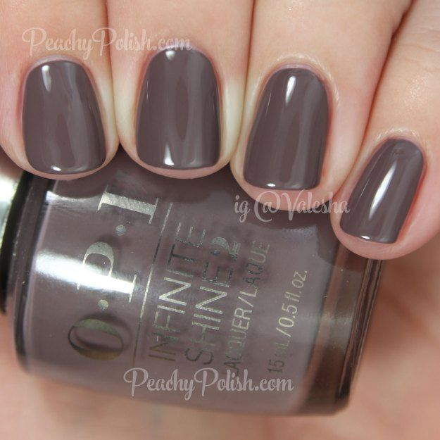 "OPI ""Set In Stone"" nail polish/lacquer from its Infinite Shine line. Love this darkened taupe creme."