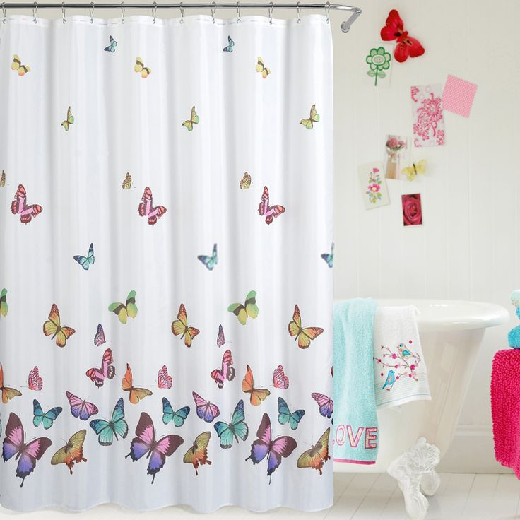 white funny panel decorated with butterfly shower curtains