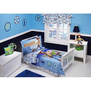 Disney - Toy Story Buzz and Woody 4-Piece Toddler Bedding Set