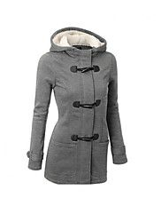 Manteau+Parka+Femme,Normal+Couleur+Pleine-Polyester+Manches+Longues+Noir+Marron+Gris+Capuche+–+EUR+€+26.98