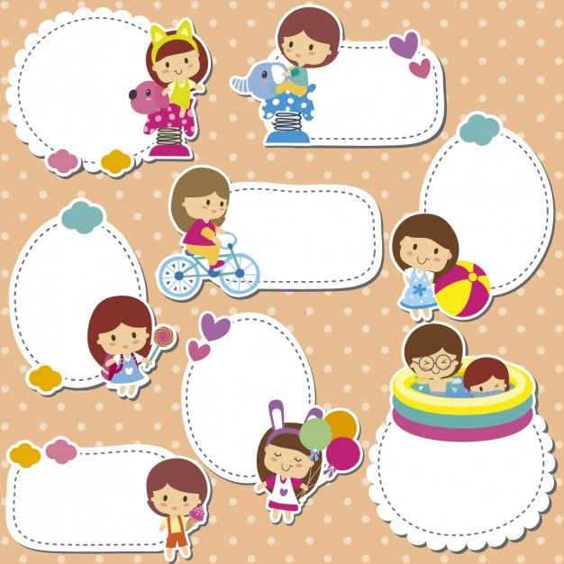 Kids stickers Free Vector