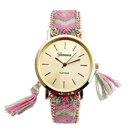 Damen Armbanduhr Beach Style Stoffarmband geflochten Farbe: Light Red Rose Gold - http://uhr.haus/geneva/damen-armbanduhr-beach-style-stoffarmband-farbe