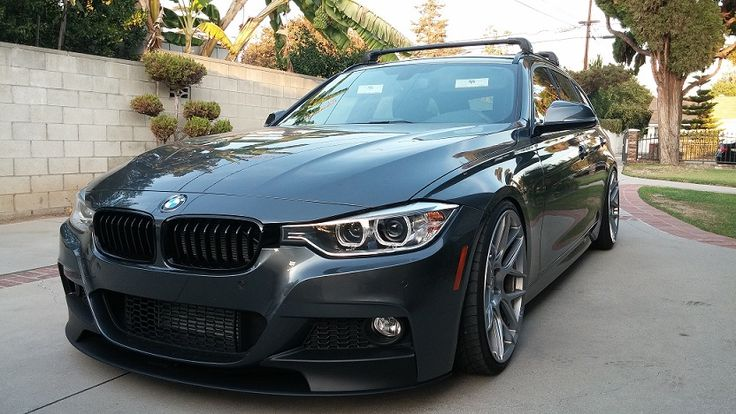 328i xdrive M-Sport in MGM.  M-Performance front lip, KW V1,  black kidney grille 20in HRE Flow Forms, Thule roof rack.