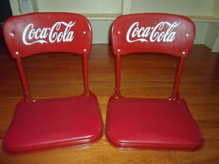 Pair, Vintage, red metal stadium folding seats w/ Coca-Cola