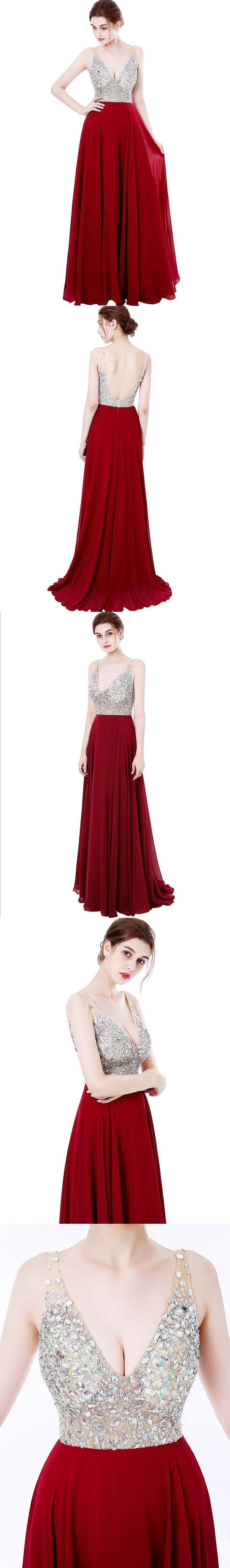 Dark Red Chiffon Beaded Top Long Prom Dresses,Pageant Dresses,2018 Prom Dresses,Long Bridesmaid Dresses #sheergirl #prom