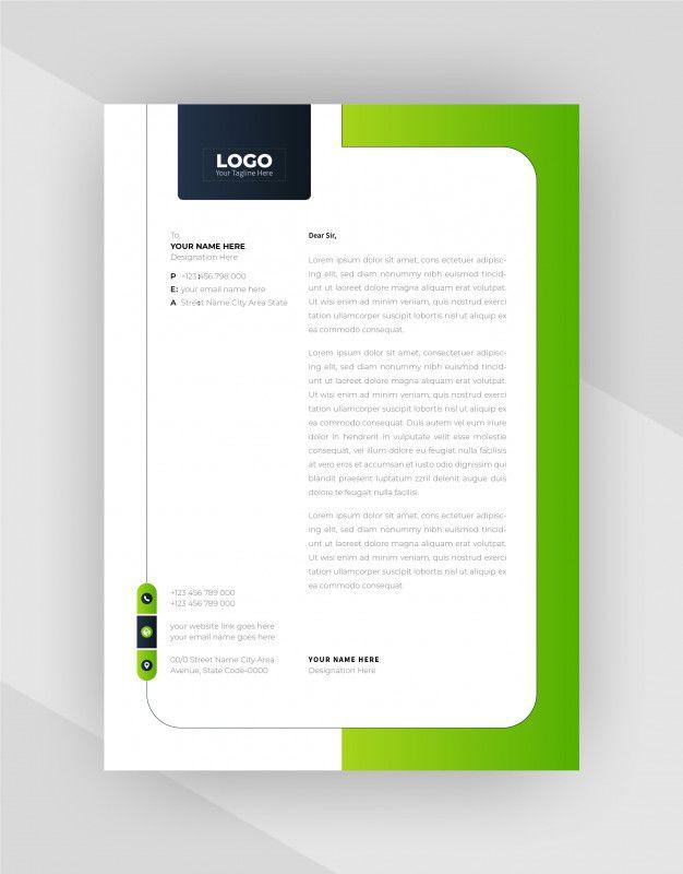 Download Green Black Color Creative Letterhead Template Design For Free In 2021 Letterhead Template Business Cards Vector Templates Letterhead Design