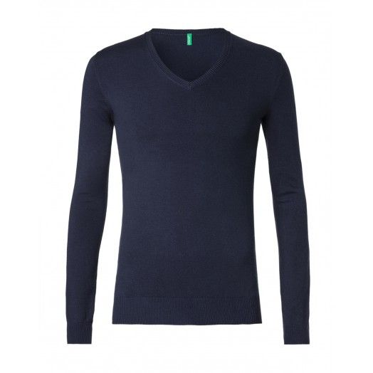 Jumper, v-neck, made of stretch cotton, with long sleeves. Rib trim finish.