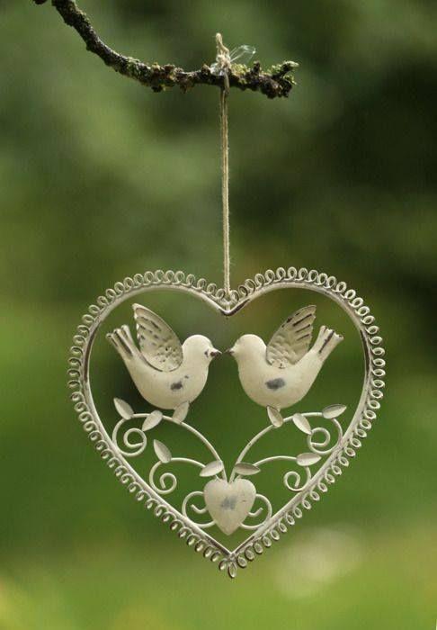 Lovebirds in Wire Heart