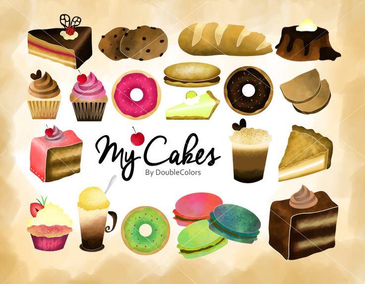 CAKES CLIPART, Bakery, Cupcakes, Donut, Dessert. 22 png file, 300dpi de DoubleColors en Etsy