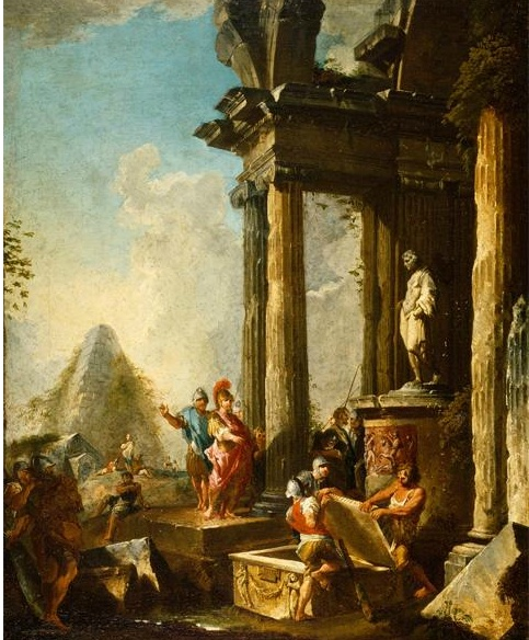 Giovanni Paolo Panini, (1692-1765). Alexander the Great at the Tomb of Achilles. Oil on Canvas. ca. 1718-1719. The Walters Art Museum.