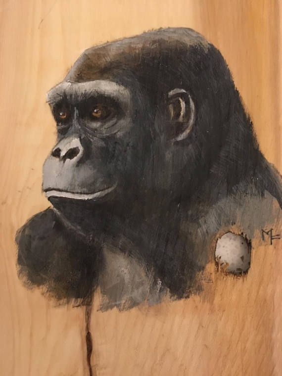 Original Hand Painted female Gorilla painting on wood by mavity