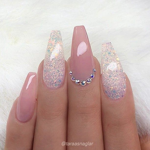REPOST – – – – Pale Mauve-Pink and Glitter on long Coffin Nails with Crystal Acc…