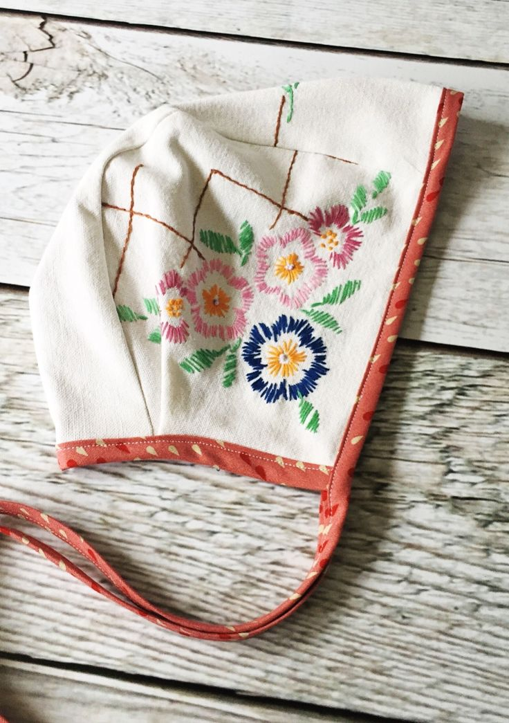 Handmade Bonnet With Vintage Embroidery | TheRoadLessRaveled on Etsy