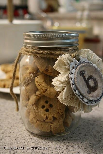 Button cookies - in mason jars.