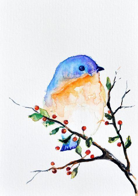ORIGINAL Watercolor Painting – Bird in a Spring tree, Bird Art 6×8 inch