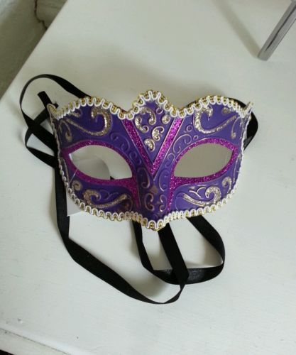 Purple masquerade eye mask hen do fancy dress party halloween sexy ladies mens | eBay