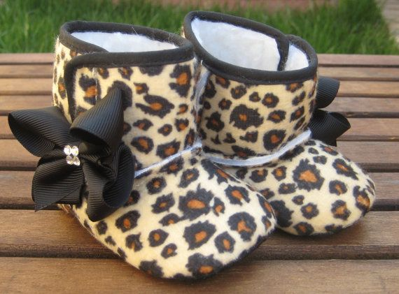 Little Diva's Cheetah Crib BOOTS With SWAROVSKI by RockkandyKids, $14.00