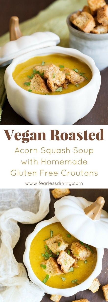 Thick and creamy roasted acorn squash soup. Vegan with vegetarian option. Gluten free, paleo and totally delicious. Homemade pumpkin spice croutons. Two easy recipes for this autumn soup! Recipe at www.fearlessdining.com #vegan #glutenfree #soup #acornsquash  via @fearlessdining