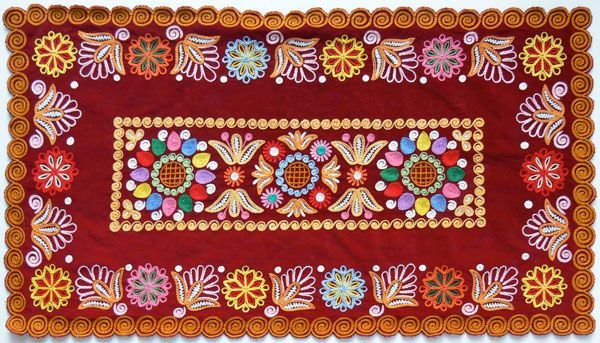 Slovakian folk embroidery sewn in Detva.