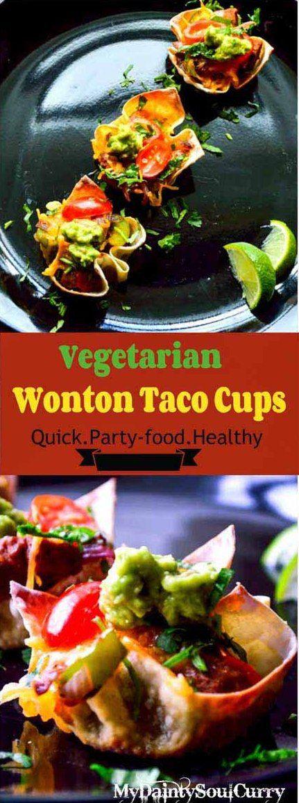 wonton taco cup #vegetarian #partyfood #quickmeal