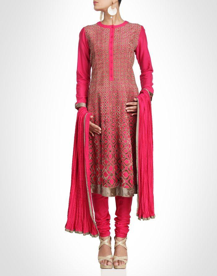 Pink suit enhanced by the brown velvet appliqué work. Shop Now: www.kimaya.in