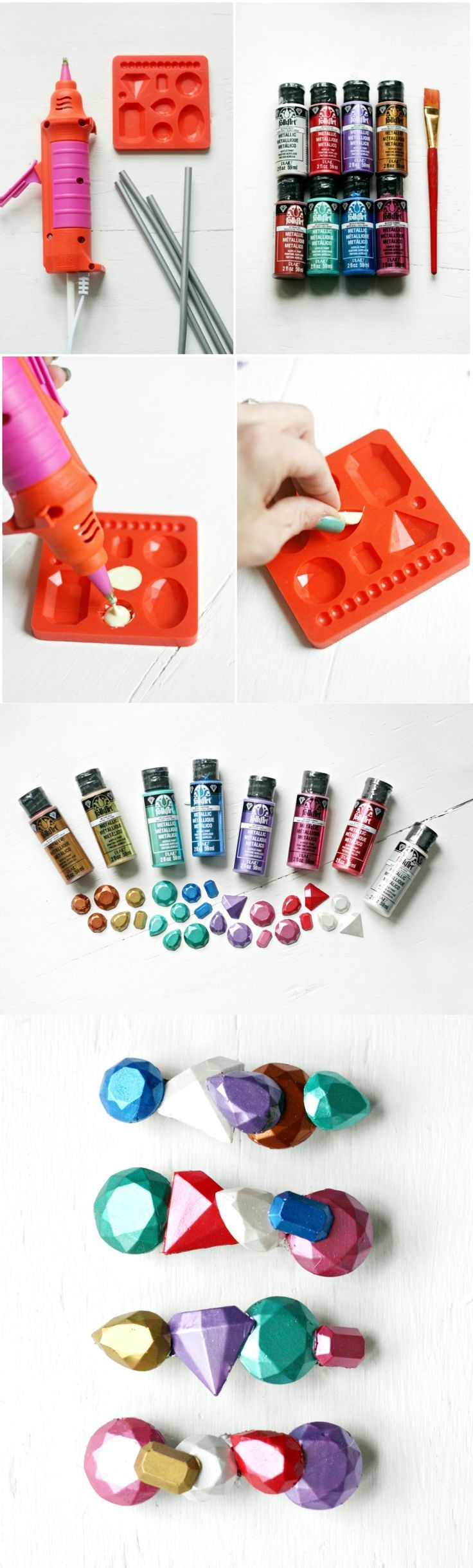 "Create your own hair accessories with Mod Melts and Molds! You'll love these rainbow faux ""gems"" - you can make a ton of them at once. They make great gifts!"