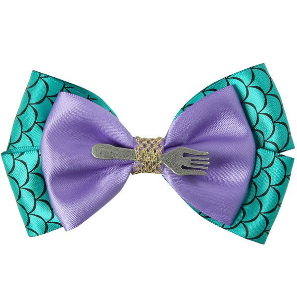 Disney The Little Mermaid Cosplay Hair Bow (€5,68) ❤ liked on Polyvore featuring accessories, hair accessories, hats/hair accessories, teal, disney, hair bows, bow hair accessories, disney hair bows and disney hair accessories