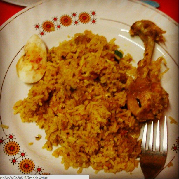 First ever chicken biriyani on mom's 60th birthday... M loving it