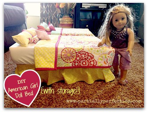 DIY American Girl Doll Bed...from a plastic storage container!  So cute!