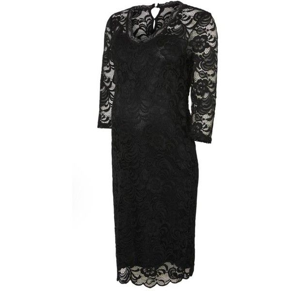 Mivana Lace 3/4 Sleeves Maternity Occasion Dress -Black ($57) ❤ liked on Polyvore featuring maternity