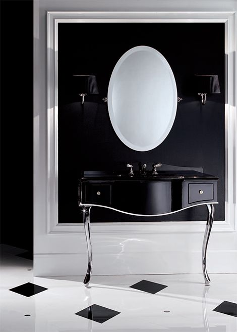 "Can you say ""chic""? Italian company Devon&Devon says it best with this sleek, black lacquered console table. This classically inspired, contemporary-style bathroom console vanity is elegance personified with its..."
