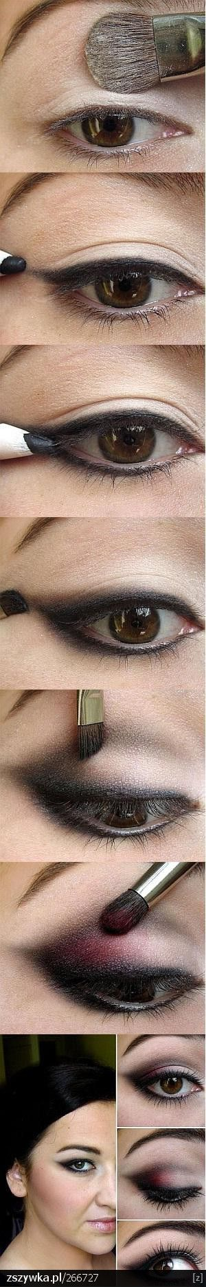 Great details of how to do a smokey eye with a pop of red.