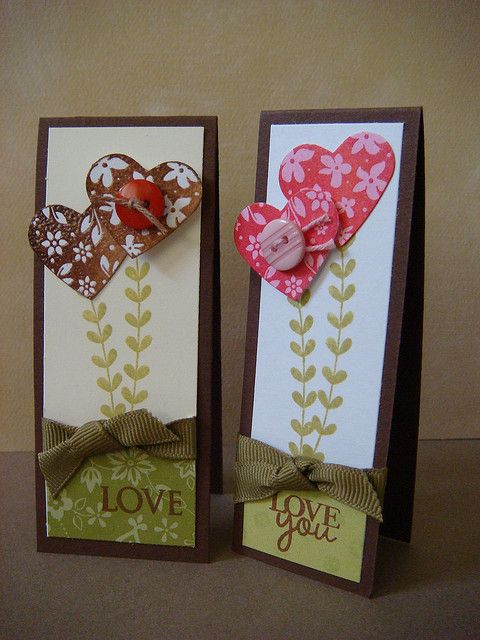 handmade Valentines cards ... tall and slim format ... heart flowers on long vine ... strong graphic feel with large sized sentiments ...