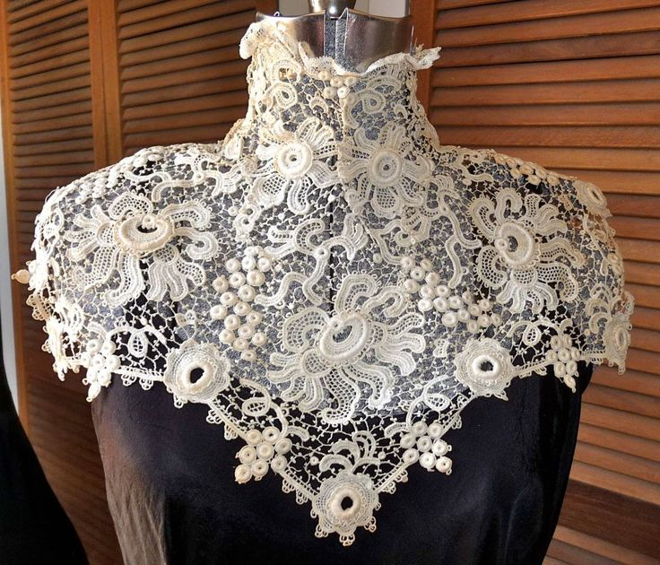Late Victorian Early Edwardian. High Collar Irish Crochet Lace. Bertha Rare Passion Flower Pattern. My character Brigid in the 'The Girl from County Clare' would have made and worn something like this. Stunning.