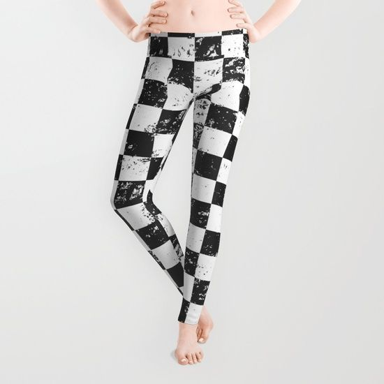 black and white distressed checked leggings