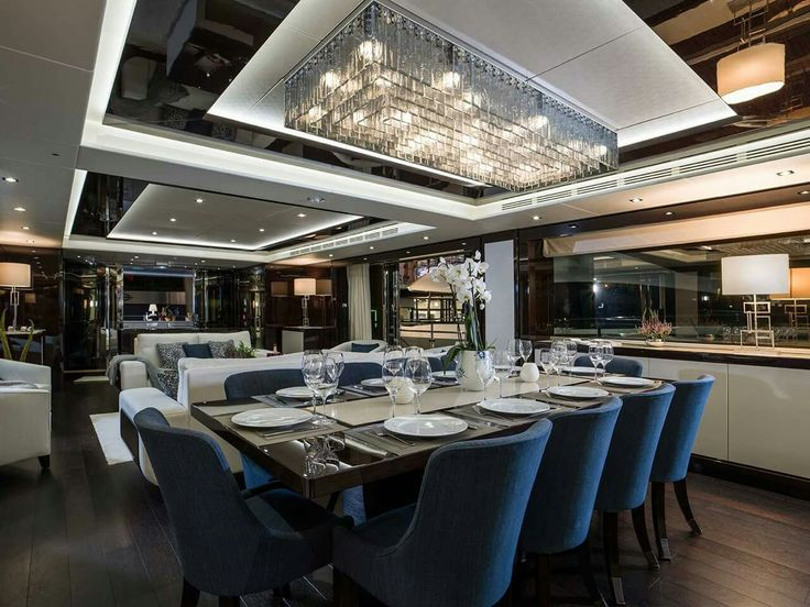 Sunseeker dining area- love the colour scheme and use of light with dark tones