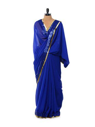 Sequined royal blue chiffon saree