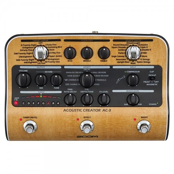 Zoom Ac 3 Acoustic Creator Guitar Effects Pedal Acoustic Guitar Acoustic Guitar Effects