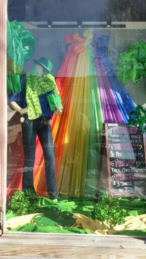 St Patricks Day window Display by Pam Forshee at An Event  To  Remember