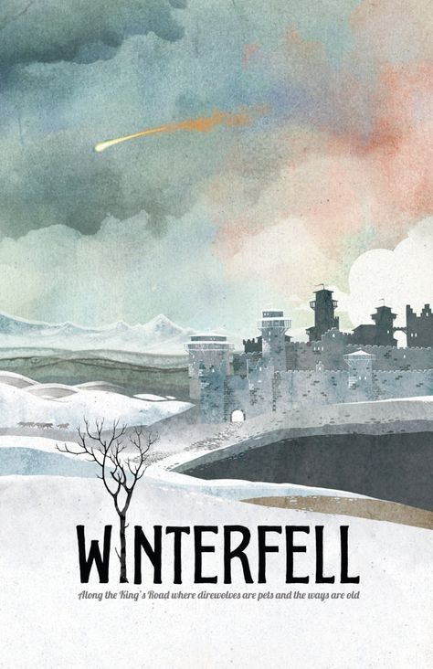 Game of Thrones Poster, Winterfell Travel Poster, Game of Thrones Gift, Game of Thrones Art, House Stark Art, Winterfell Art, Winterfell – QueenClaire13♕