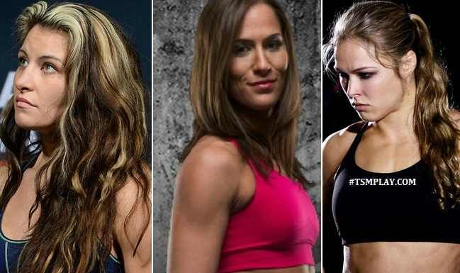 UFC Women FIghters on the Top of the List; (l-r) Meisha Tate, Alexis Davis, and Ronda Rousey