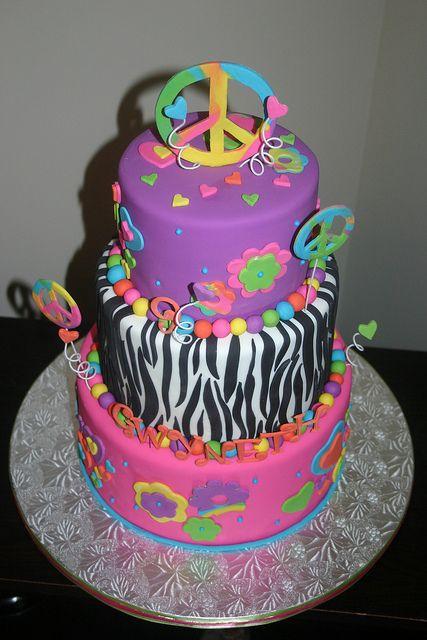 Kenzie LOVES this zebra peace sign cake - her faves - #purplepeacesignzebracake