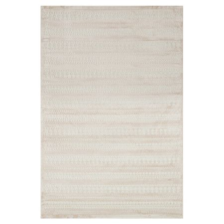 Awash in a neutral hue and showcasing a subtle geometric motif, this art silk and chenille rug is perfect for tempering a boldly decorated room or accenting ...