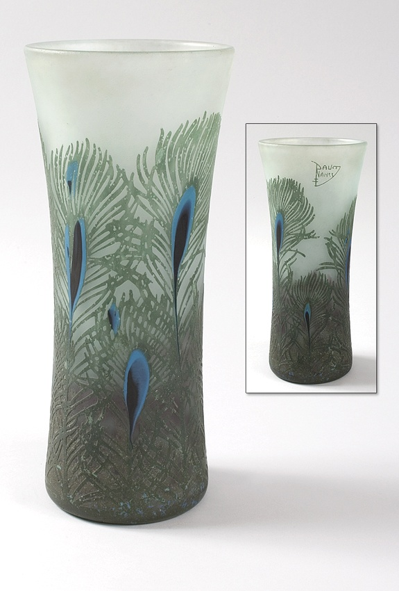 """French art nouveau cameo glass """"peacock vase by daum"""