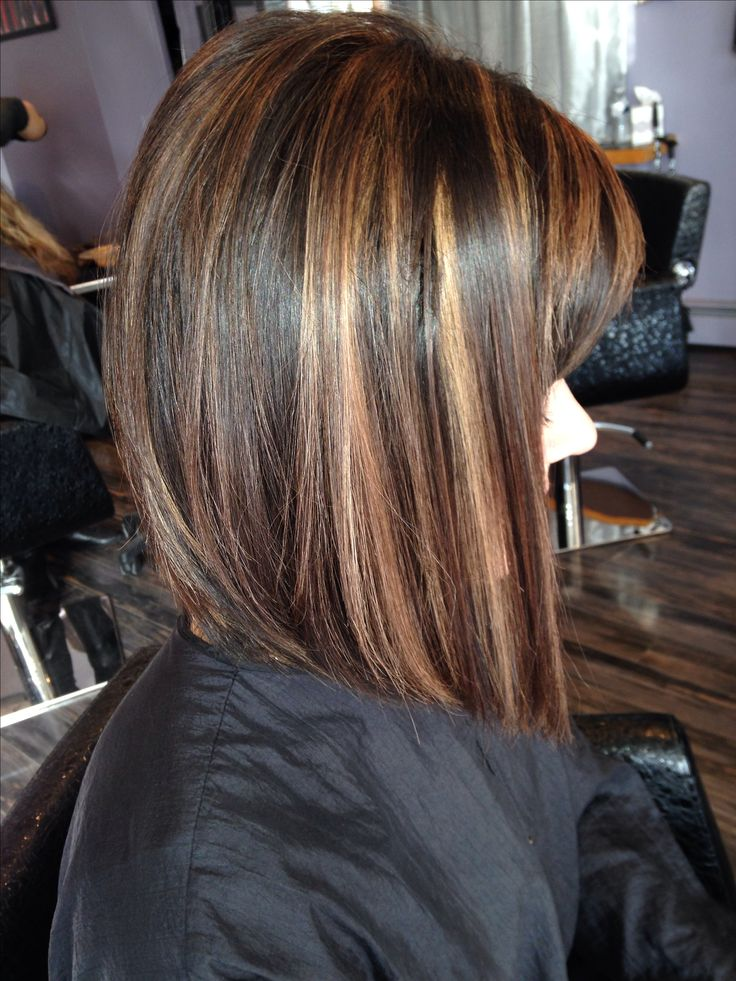 Angled bob  Rich brown base with caramel highlights