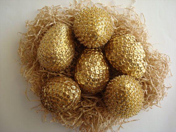 Golden EggsEaster DecorationsBeaded Decorative by Valelval on Etsy